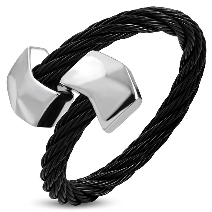 Black and Golden Stainless Steel rope Ring with alloy silver tone end cap in Arrow Shape