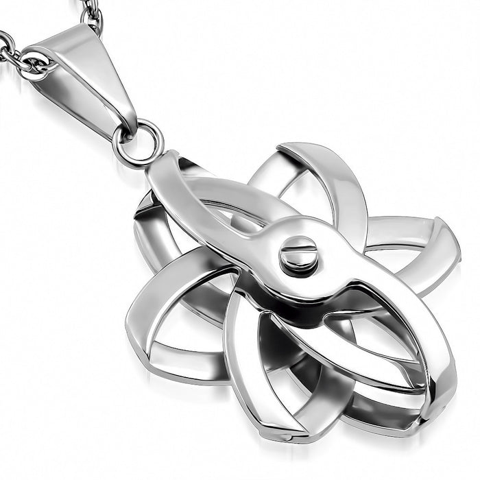 Stainless Steel Atomic Symbol Spinning Pendant