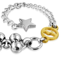 Double stand Stainless Steel bracelet. 2 Tones