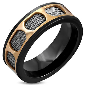 Black Stainless Steel 3-tone Celtic twisted cable wire comfort fit Band Ring