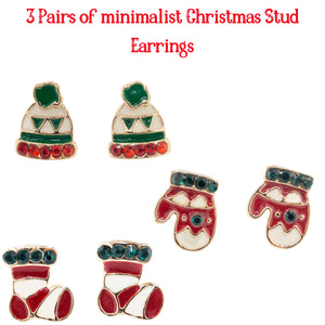 3 Pairs of dainty and fun Christmas Stud earrings. Holiday gifts for her