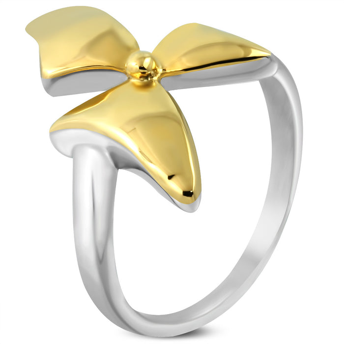 High Quality Stainless Steel 2-tone Bow Ribbon Fancy Ring.