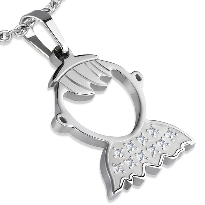 Stainless Steel Cut-out School Boy Pendant with clear cubic zirconia.