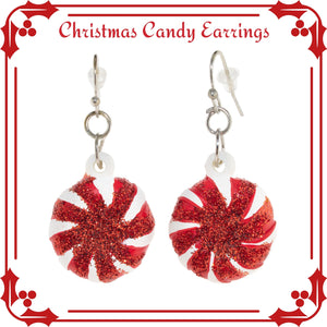 Candy Peppermint Swirl Christmas Earrings. Christmas gifts under $5