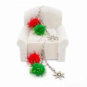 Christmas Earrings. Fuzzy Pom Pom Puff dangle earrings with snowflake charm.
