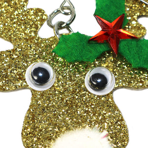 Handmade Gold Glitter Reindeer Christmas Earrings with jingle bell nose