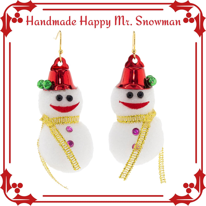 Handmade Cotton Snowman Christmas Earrings. Christmas gifts for her.
