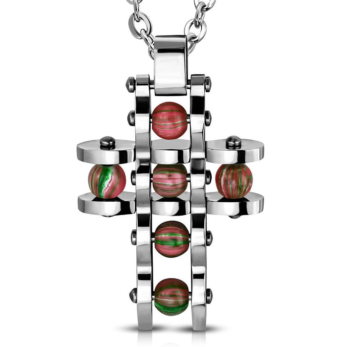 Stainless Steel Cross with beads pendant with chain.