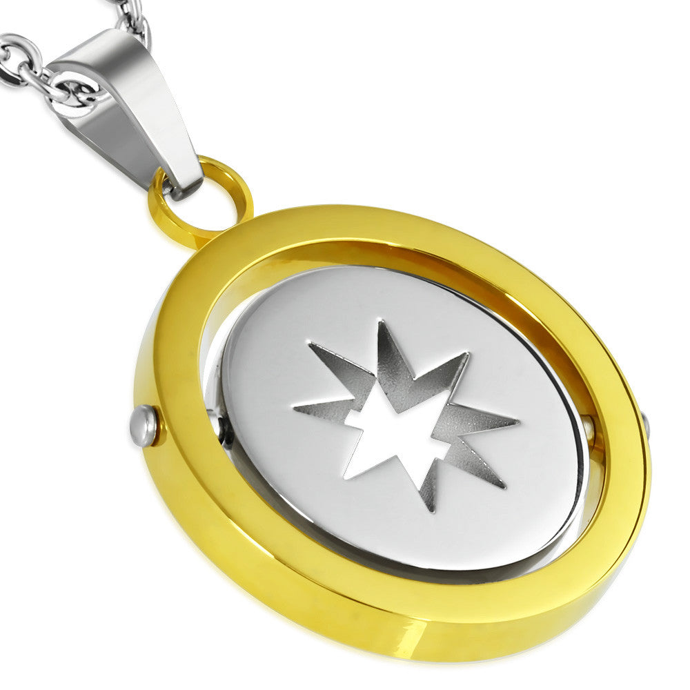 Stainless Steel 2-tone Cut out Star circle spinning Pendant ...