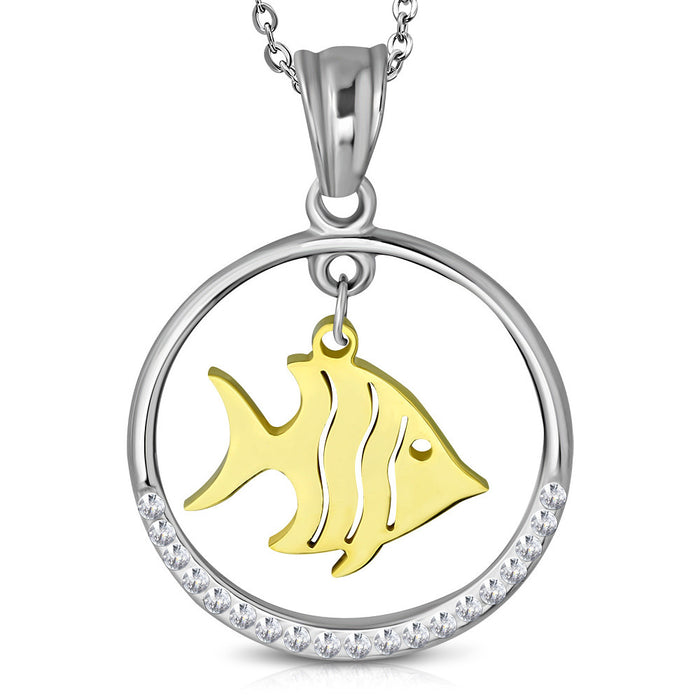 Stainless Steel Chain with a fish dangling from circle pendant