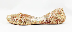 Vintage Golden Glitter Rubber Summer Loafers. Jelly sandals