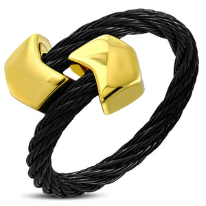 Black and Golden Stainless Steel rope Ring with alloy golden tone end cap in Arrow Shape