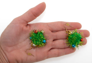 Fuzzy Pom Pom Puff Christmas dangle earrings. Fun Christmas gifts for her.