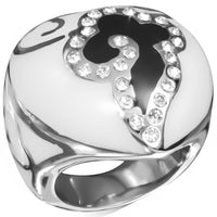 Stainless Steel 2-tone bulky Ring. Enameled Heart Shaped with clear Rhinestones