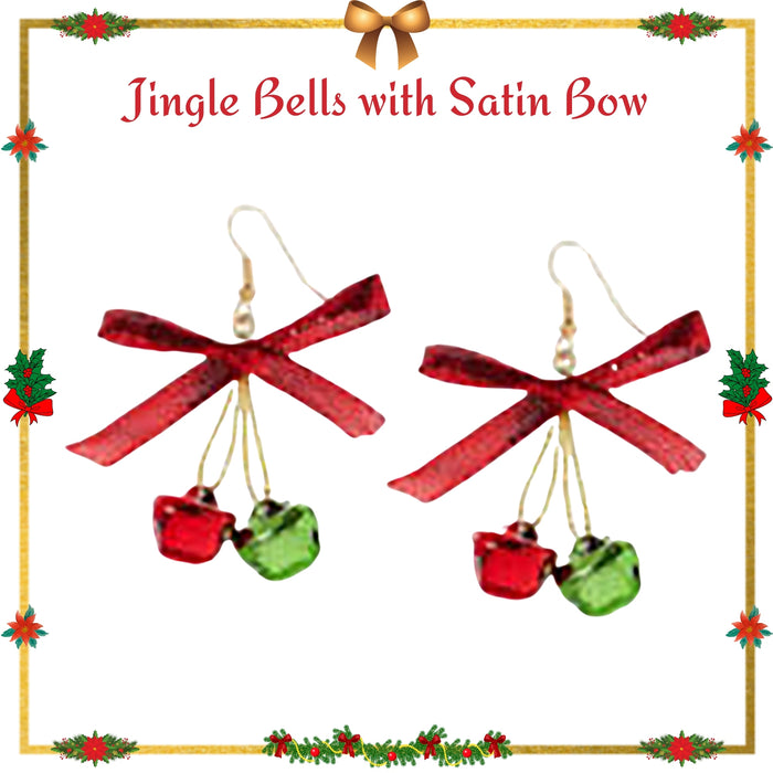 Cute and Delicate Red and Green Jingle bells with a red satin ribbon bow.