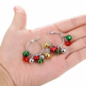 Jingle Bells Hoop Earrings. Red, Green, yellow, transparent, golden.