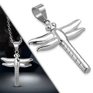 Stainless Steel Dragonfly Charm Necklace