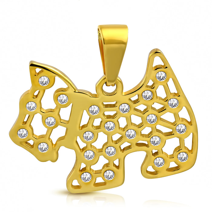 Golden tone Stainless Steel Puppy Dog with rhinestones Pendant Necklace.