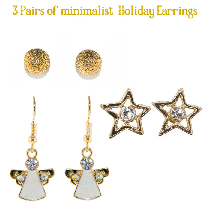 3 Pairs Set of Minimalist earrings. Texturized Stud, Star Stud, and Angel dangling earrings.