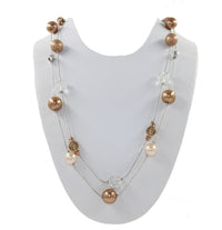 Multi Layered Necklace with Faux-Pearls and Beads