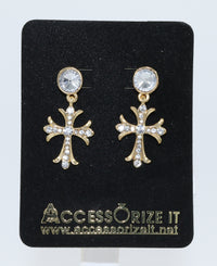 Delicate Earrings Cross in Fashion Alloy with Silver Rhinestones
