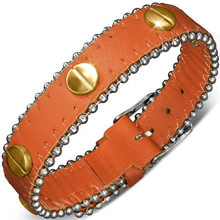 Leather Belt Buckle Bracelet with Stainless Steel Screw Studs