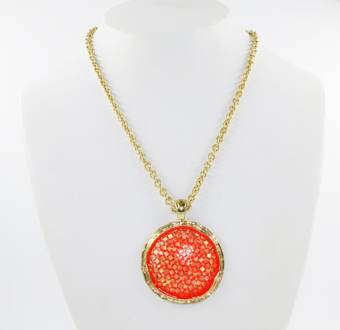 Round Orange Pendant with Golden tone chain
