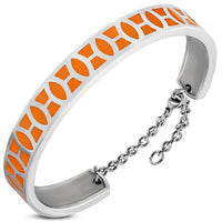 Stainless Steel Orange enameled Bracelet