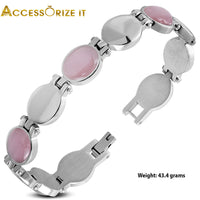 Stainless Steel Oval pink and silver links Bracelet