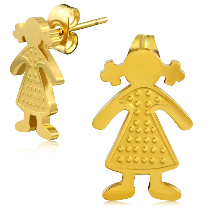 Golden color plated Stainless Steel Schoolgirl with Ponytails Stud Earrings