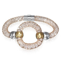 Stainless 3-Tone Circle loop Puff Bracelet with magnetic lock