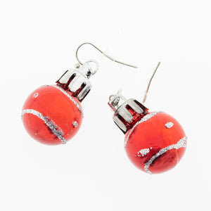 Red Christmas ornaments ball with silver glitter design earrings. Under USD 5 Christmas gifts for her.