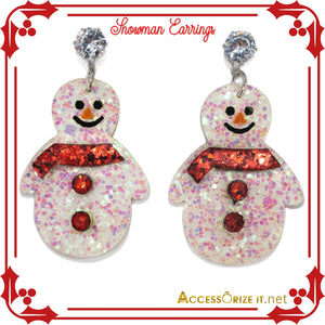 Handcrafted Snowman Drop Earrings with rhinestones stud. Handmade Christmas gifts for her