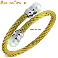 Rope bangle with pearl bead. Golden Color