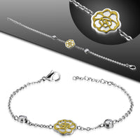 Stainless steel chain bracelet with a rose charm