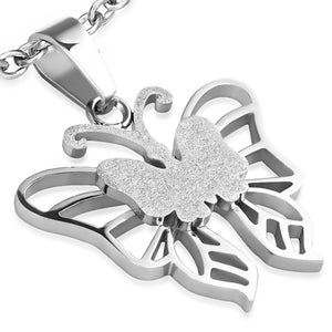 Stainless Steel Sandblasted Fancy Butterfly Pendant with chain