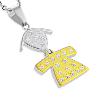 Stainless Steel Chain Necklace with 2-Tone Schoolgirl Pendant with cubic zirconia