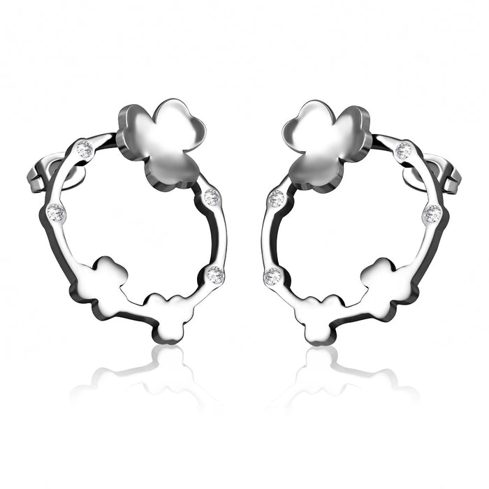Stainless Steel Shamrock Flower Round Stud Earrings with Clear Swarovski