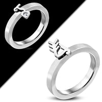 2 Rings in one High Quality Stainless Steel Arrow Bow Stackable Band Ring.