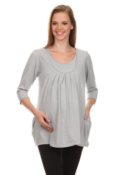 Sarra Pleated 3/4 Sleeve Nursing Top - BellyMoms Maternity
