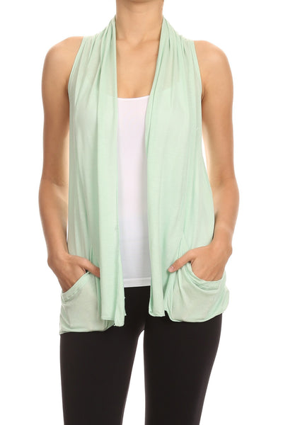 Drape Front Sleeveless Cardigan - BellyMoms Maternity