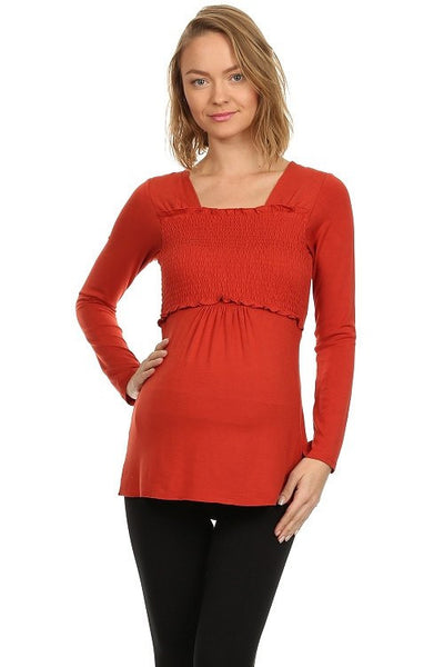 Smocked Babydoll Empire Access Long Sleeved Nursing Top - BellyMoms Maternity