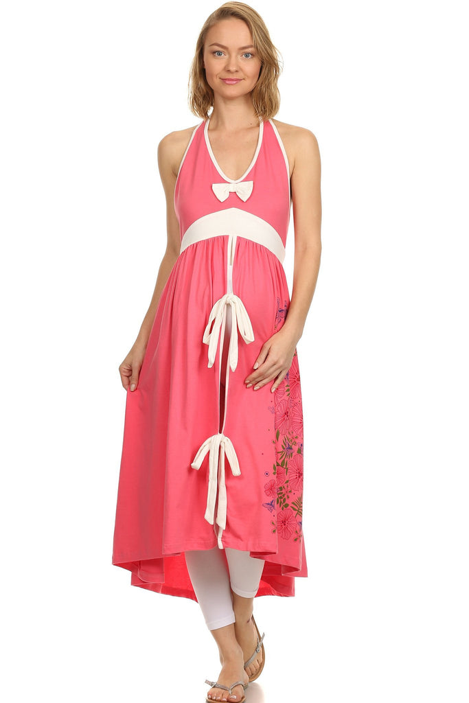 Labor Delivery Gown - Coral Flower - BellyMoms Maternity