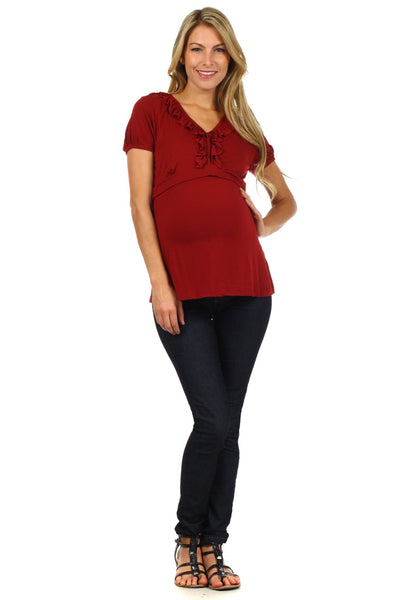 Tess Empire Lift Short Sleeve Nursing Top - BellyMoms Maternity