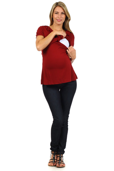 Tess Empire Line Short Sleeve Nursing Top - BellyMoms Maternity