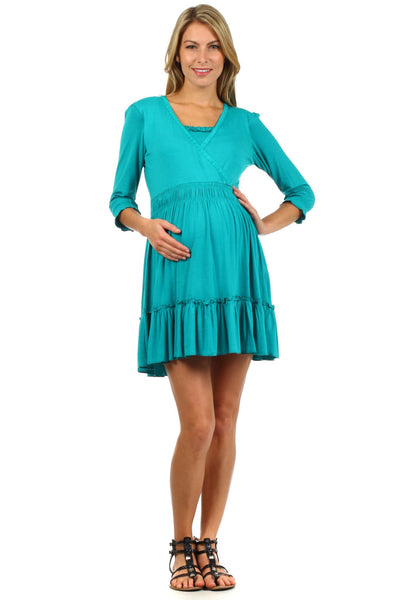 Belle Ruffle Nursing Dress or Long Nursing Top - BellyMoms Maternity
