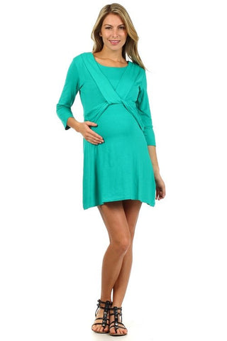 Angel Knot Tunic Style Long Sleeve Nursing Dress - Final sale - No Returns - BellyMoms Maternity
