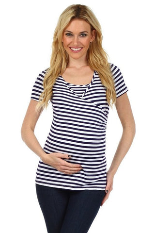 Striped Crossover Nursing Top - Short Sleeves - BellyMoms Maternity