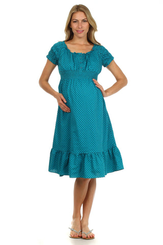 Kate Ruffled Peasant Nursing Dress - BellyMoms Maternity