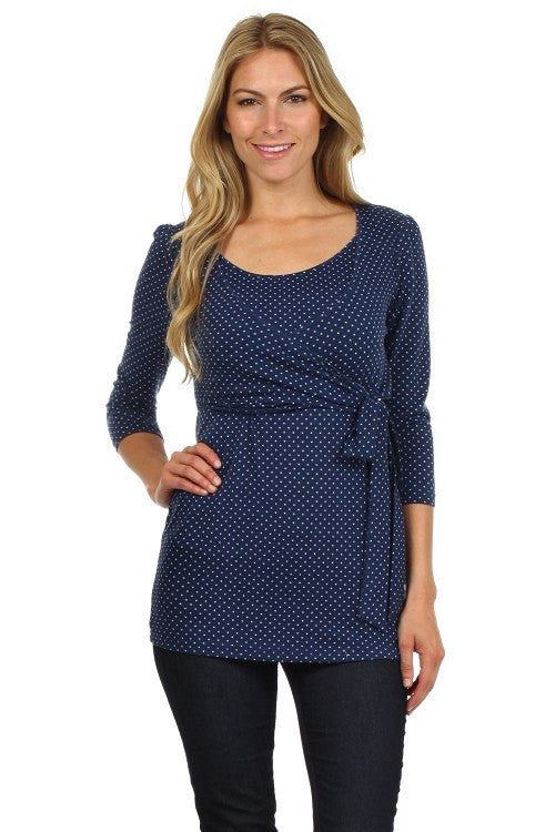 Wrap and Tie Polka Dot Print 3/4 Sleeves Nursing Top - BellyMoms Maternity